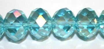 72pcs x 10mm Turquoise blue with AB coating rondelle faceted glass beads -- S.J -- 3005724